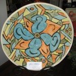 Large hand-painted bowl - $125 w/ stand