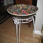 Large hand-painted bowl on stand
