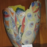 Large hand-painted vase - $225
