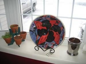 This large, hand-painted bowl is on display in my window-sill.  You can see all the snow in the background!