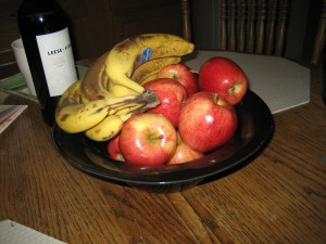 I always use a Jean Elton serving bowl to hold my fruit.  I alternate which ones, because I have several colors.