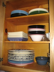 "My cabinets are completely Jean Elton dishes! One of the sets you've already seen on this blog in the ""Not for Display Only"" post.  Some of the others I had the privilege to paint myself!"