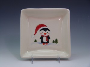 Hand-Painted Christmas Penguin Plate