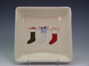 Hand-Painted Christmas Stocking Plate