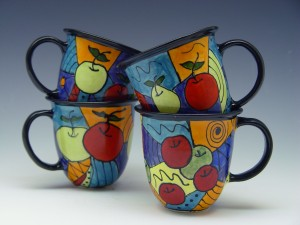 Hand-Painted Apple Mugs