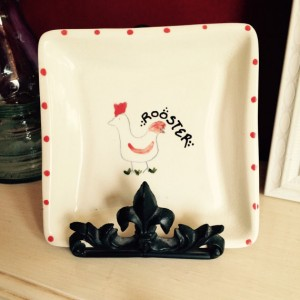 Square Lunch Plate with Rooster - Farmyard Series